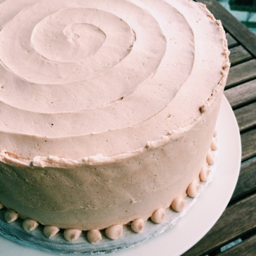 Vanilla Bean Cake with Pomegranate Buttercream Frosting