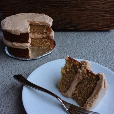 tahini cake sliced and served
