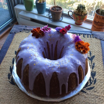 lemon budt cake with lavender icing