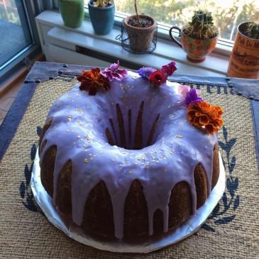 lemon budt cake with lavender icing