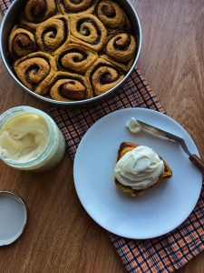 Pumpkin Spice Cinnamon Roll with cream cheese frosting