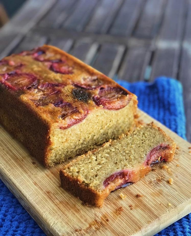 upside down olive oil loaf cake with plums